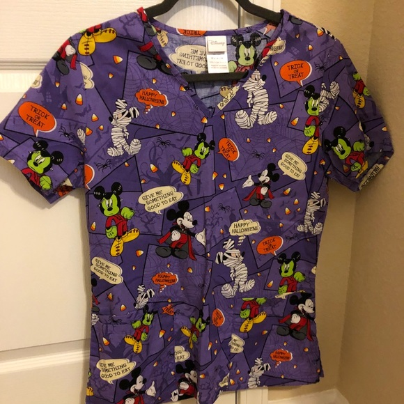 nwot mickey halloween scrubs xs